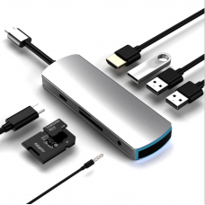 Hub USB 3.1 Type-C MinTech TC82Y 8 in 1, 3 x USB 3.0, 1x USB Type-C, Port 4K HDMI, SD TF card, SD Audio
