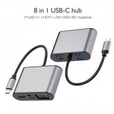 Hub USB 3.1 Type-C MinTech TC8W USB2.0*2+USB3.0*1+PD*1+Audio*1+TF*1+HDM*1+VGA*1