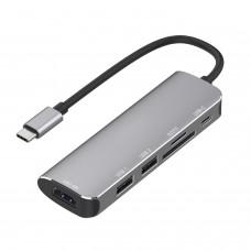 Hub USB 3.1 Type-C MinTech XTC06 6 in 1 Type-c Hub Adapter to HDM+2*USB3.0+SD/TF+PD