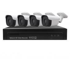 Sistem de supraveghere exterior POE Digital Winpossee WP-7004T5A  2K, 4 x camere IP Bullet POE 5 MP,senzor PS5510, IR 25m