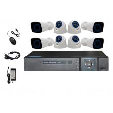 Sistem de supraveghere interior & exterior Analogic Winpossee WP-AH4208TB FullHD 1080P, 4 x camere Bullet, 4 x camere Dome 2 MP,senzor SC2235, IR 25m